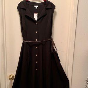 Avenue Black Sleeveless Maxi Dress with Belt